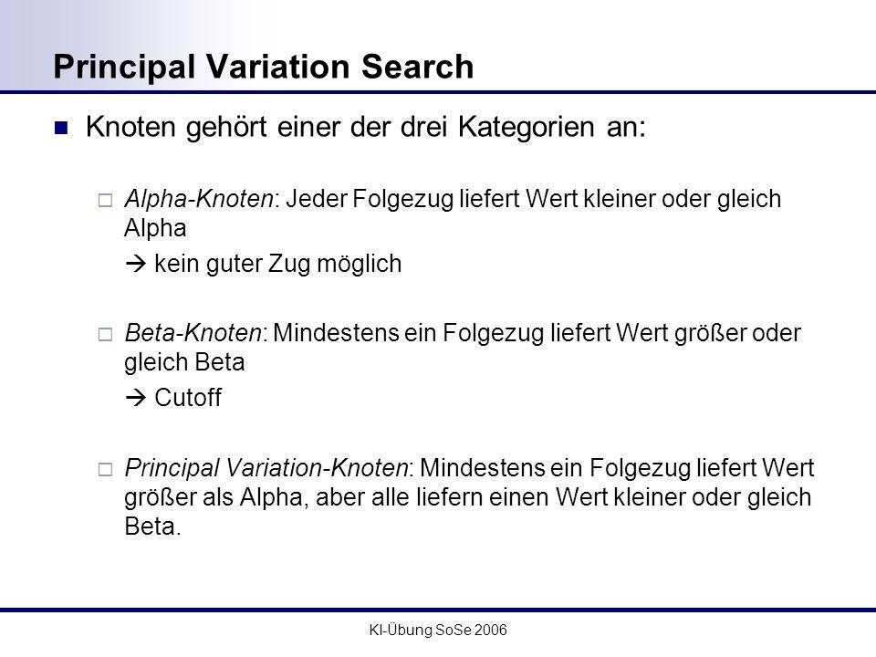 KI-Übung SoSe 2006 Principal Variation Search Knoten gehört einer der drei Kategorien an: Alpha-Knoten: Jeder Folgezug liefert Wert kleiner oder gleic