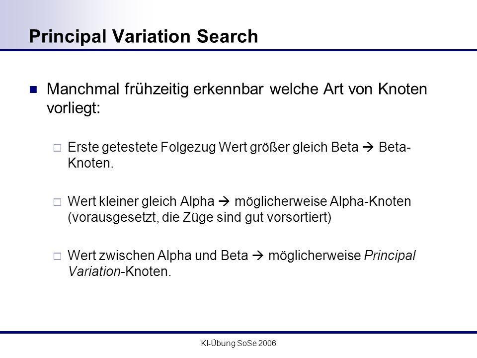 KI-Übung SoSe 2006 Principal Variation Search Manchmal frühzeitig erkennbar welche Art von Knoten vorliegt: Erste getestete Folgezug Wert größer gleic