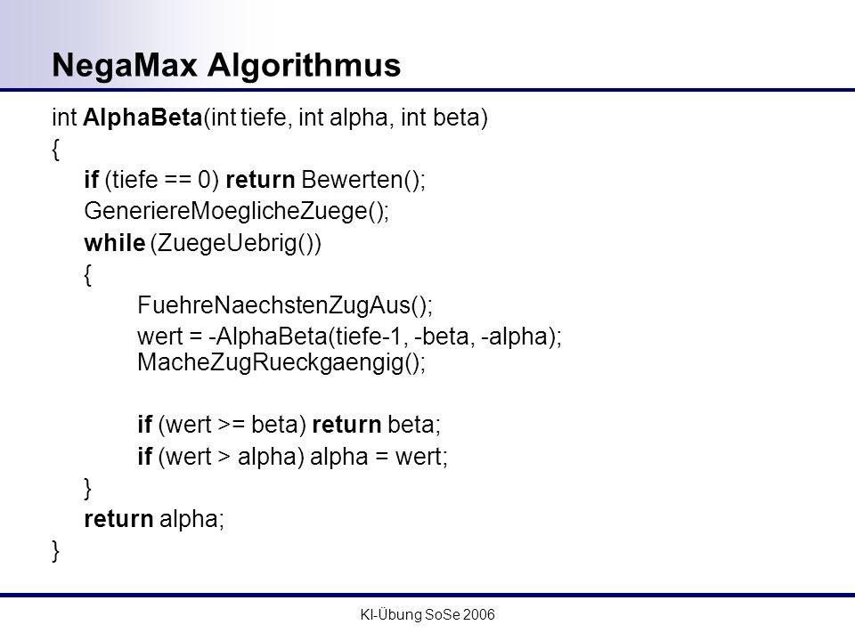 KI-Übung SoSe 2006 NegaMax Algorithmus int AlphaBeta(int tiefe, int alpha, int beta) { if (tiefe == 0) return Bewerten(); GeneriereMoeglicheZuege(); w