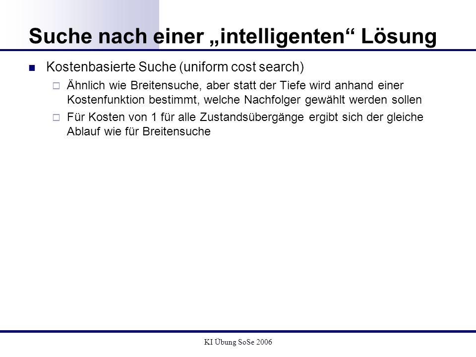 KI Übung SoSe 2006 Suche nach einer intelligenten Lösung Kostenbasierte Suche (uniform cost search) Ähnlich wie Breitensuche, aber statt der Tiefe wir