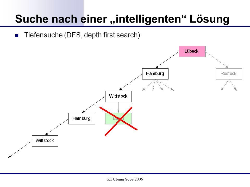 KI Übung SoSe 2006 Suche nach einer intelligenten Lösung Tiefensuche (DFS, depth first search)