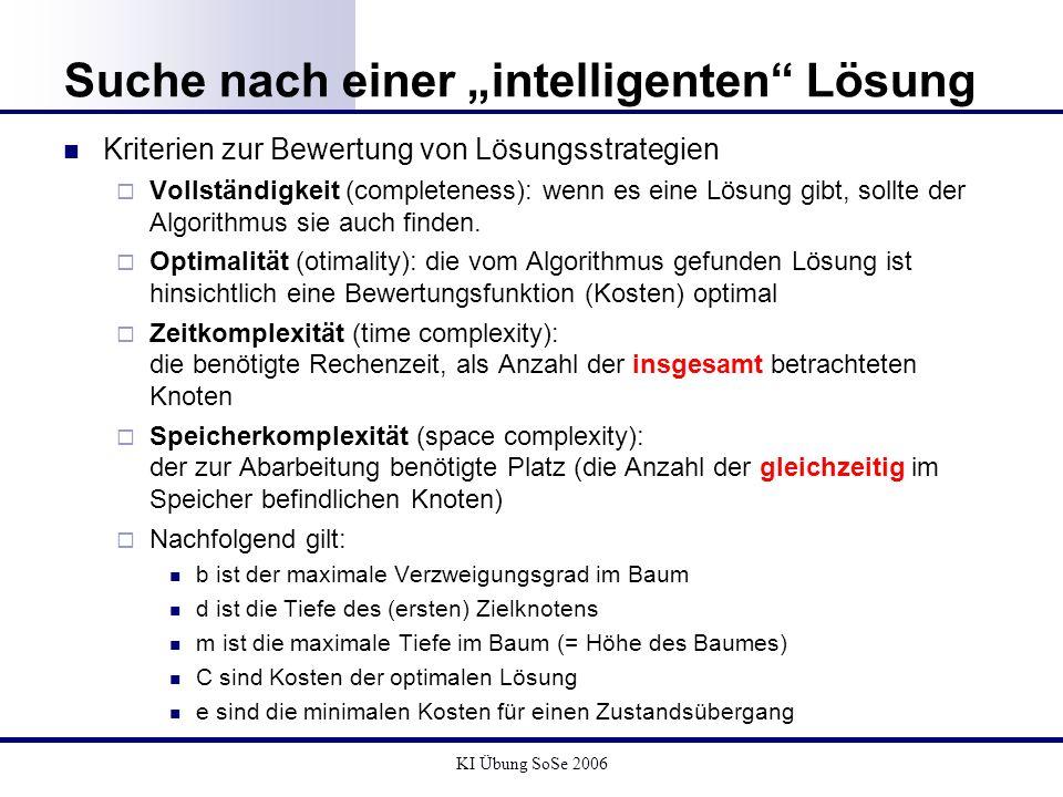 KI Übung SoSe 2006 Suche nach einer intelligenten Lösung Kriterien zur Bewertung von Lösungsstrategien Vollständigkeit (completeness): wenn es eine Lö