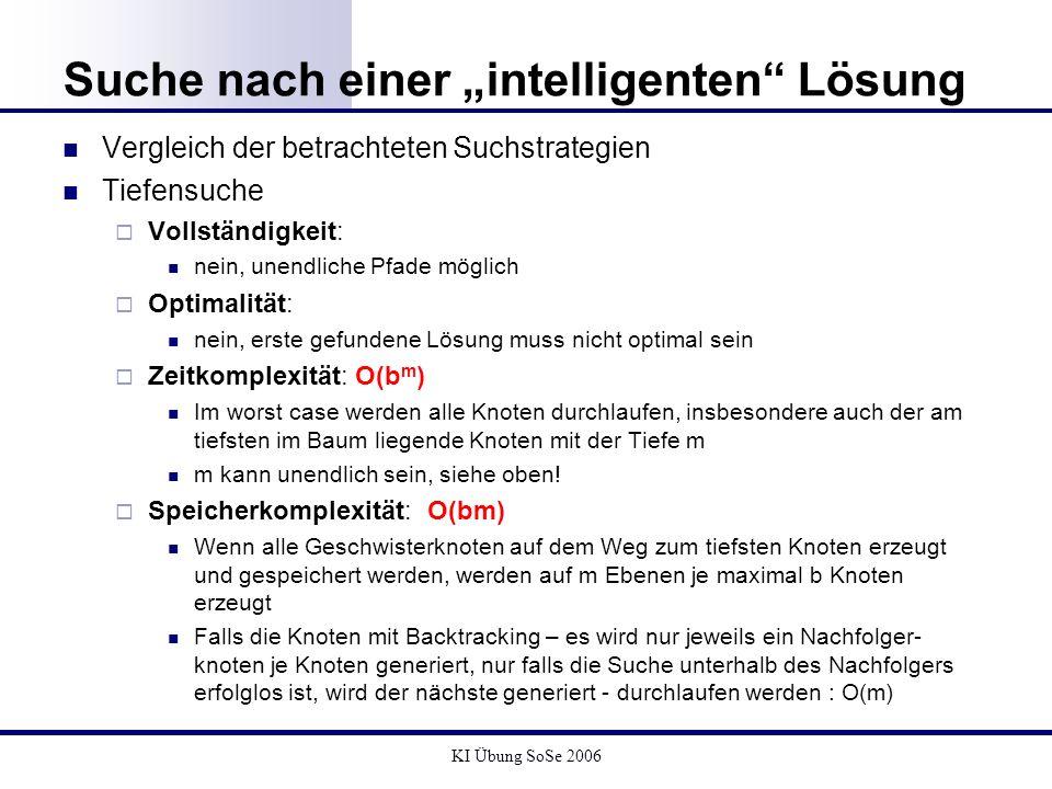 KI Übung SoSe 2006 Suche nach einer intelligenten Lösung Vergleich der betrachteten Suchstrategien Tiefensuche Vollständigkeit: nein, unendliche Pfade
