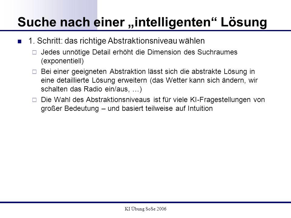 KI Übung SoSe 2006 Suche nach einer intelligenten Lösung Abstraktionsniveau : Aufspaltung eines abstrakten Zustands