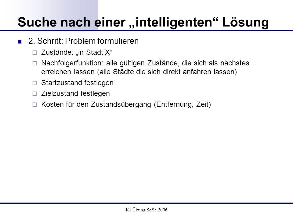 KI Übung SoSe 2006 Suche nach einer intelligenten Lösung 2. Schritt: Problem formulieren Zustände: in Stadt X Nachfolgerfunktion: alle gültigen Zustän