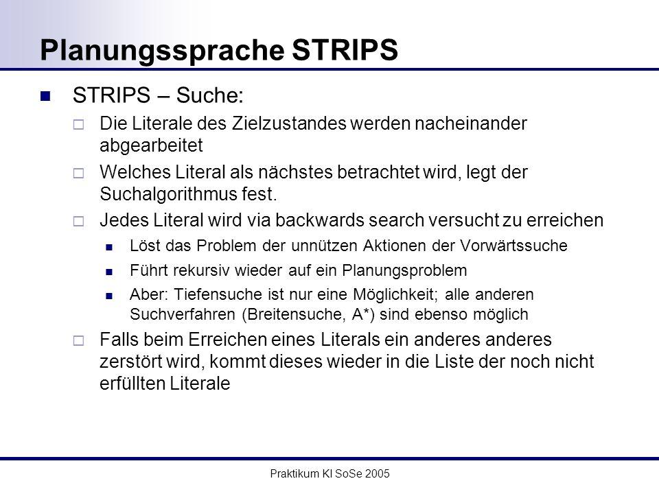 Praktikum KI SoSe 2005 Planungssprache STRIPS STRIPS – Suche: Die Literale des Zielzustandes werden nacheinander abgearbeitet Welches Literal als nächstes betrachtet wird, legt der Suchalgorithmus fest.