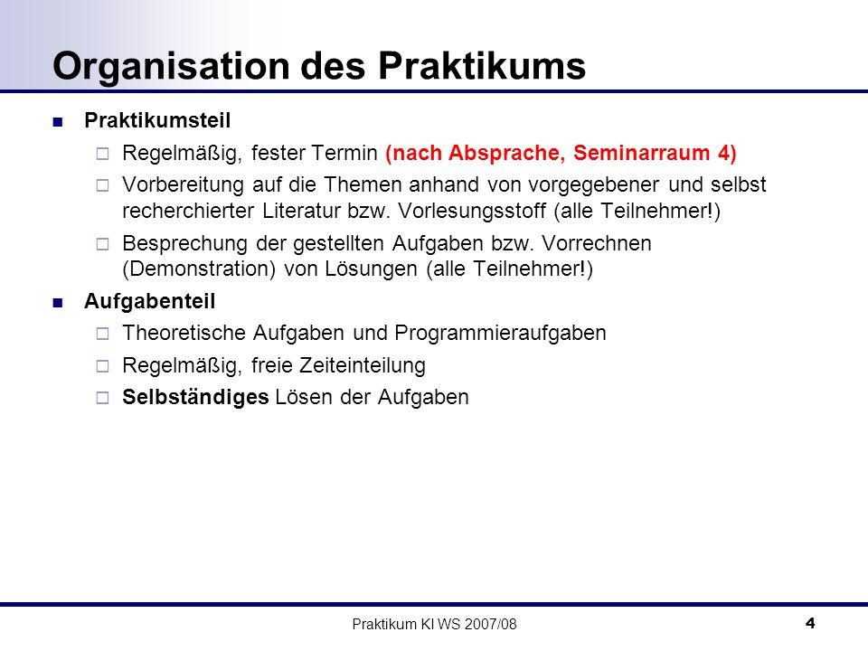 Praktikum KI WS 2007/085 Bearbeitung der Aufgaben Einzeln oder in Gruppen (je nach Teilnehmerzahl) Abgabe per Email an jeweiligen Übungsleiter Theorieaufgaben im Email-Body oder als Anhang Programmieraufgaben: Java / C++ Fokus liegt auf den Algorithmen, nicht auf der Implementierung