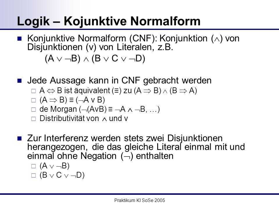 Praktikum KI SoSe 2005 Logik – Kojunktive Normalform Konjunktive Normalform (CNF): Konjunktion ( ) von Disjunktionen (v) von Literalen, z.B.