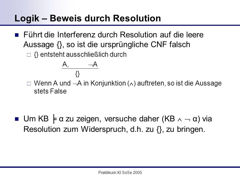 Praktikum KI SoSe 2005 Logik – Beweis durch Resolution Führt die Interferenz durch Resolution auf die leere Aussage {}, so ist die ursprüngliche CNF falsch {} entsteht ausschließlich durch A, A {} Wenn A und A in Konjunktion ( ) auftreten, so ist die Aussage stets False Um KB α zu zeigen, versuche daher (KB α) via Resolution zum Widerspruch, d.h.