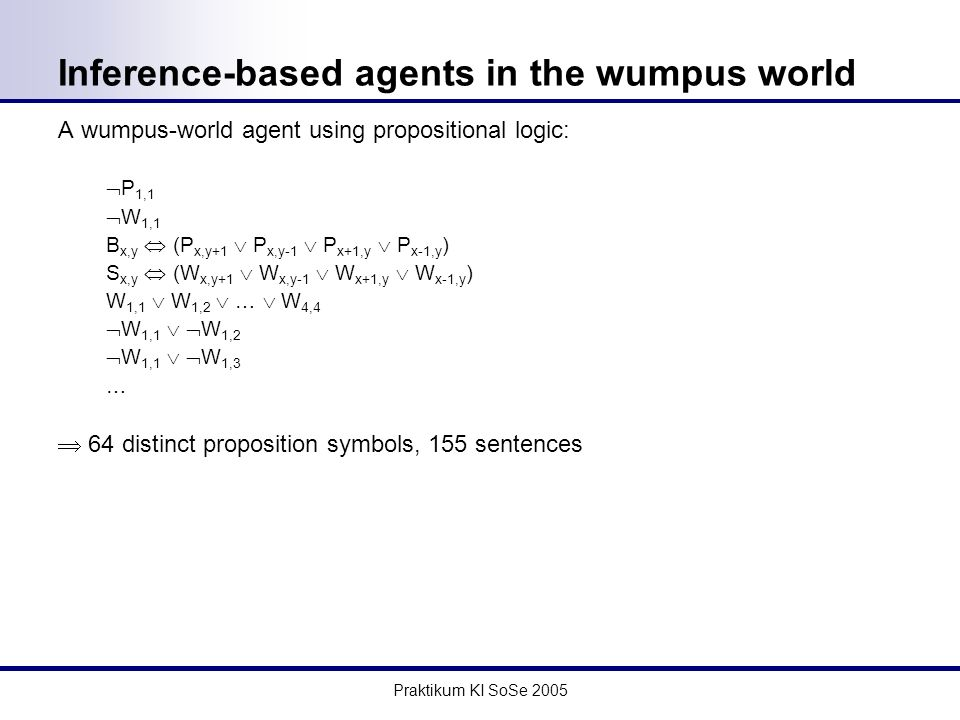 Praktikum KI SoSe 2005 Inference-based agents in the wumpus world A wumpus-world agent using propositional logic: P 1,1 W 1,1 B x,y (P x,y+1 P x,y-1 P x+1,y P x-1,y ) S x,y (W x,y+1 W x,y-1 W x+1,y W x-1,y ) W 1,1 W 1,2 … W 4,4 W 1,1 W 1,2 W 1,1 W 1,3 … 64 distinct proposition symbols, 155 sentences