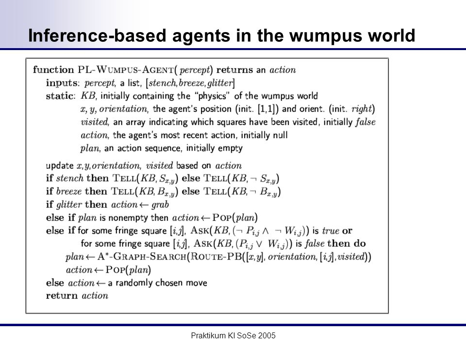 Praktikum KI SoSe 2005 Inference-based agents in the wumpus world