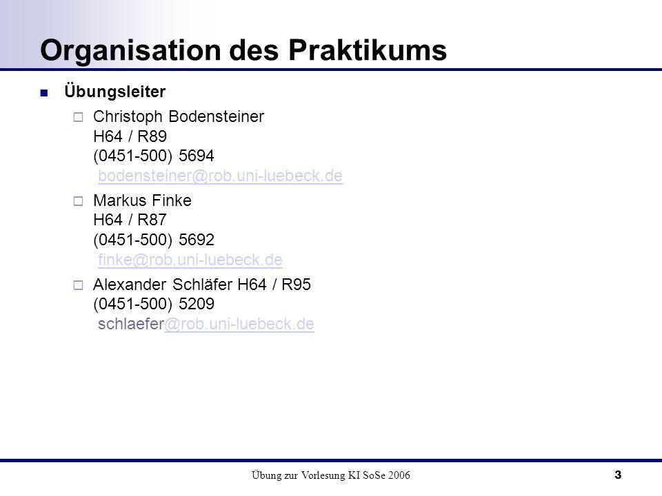 Übung zur Vorlesung KI SoSe 20063 Organisation des Praktikums Übungsleiter Christoph Bodensteiner H64 / R89 (0451-500) 5694 bodensteiner@rob.uni-luebeck.debodensteiner@rob.uni-luebeck.de Markus Finke H64 / R87 (0451-500) 5692 finke@rob.uni-luebeck.definke@rob.uni-luebeck.de Alexander Schläfer H64 / R95 (0451-500) 5209 schlaefer@rob.uni-luebeck.de@rob.uni-luebeck.de