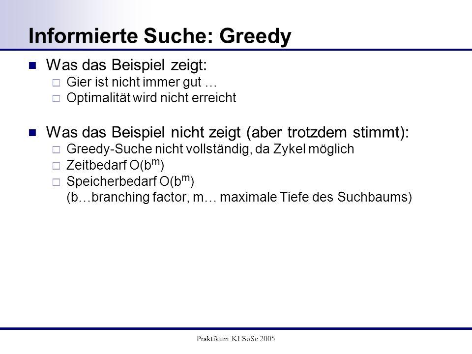 Praktikum KI SoSe 2005 Informierte Suche: Greedy Was das Beispiel zeigt: Gier ist nicht immer gut … Optimalität wird nicht erreicht Was das Beispiel n