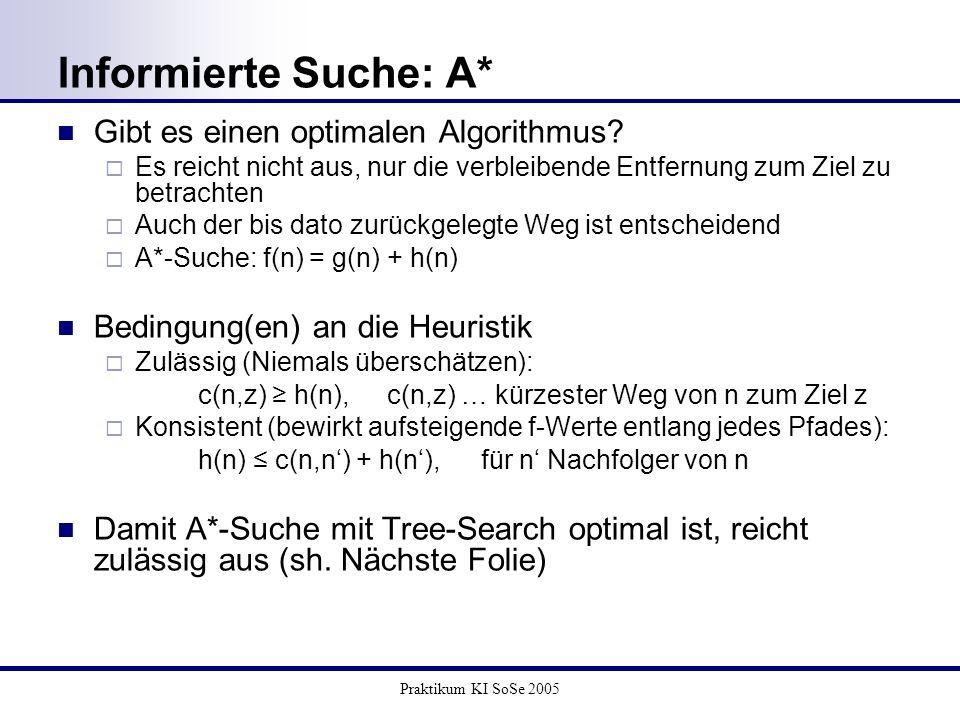 Praktikum KI SoSe 2005 Informierte Suche: A* Gibt es einen optimalen Algorithmus? Es reicht nicht aus, nur die verbleibende Entfernung zum Ziel zu bet