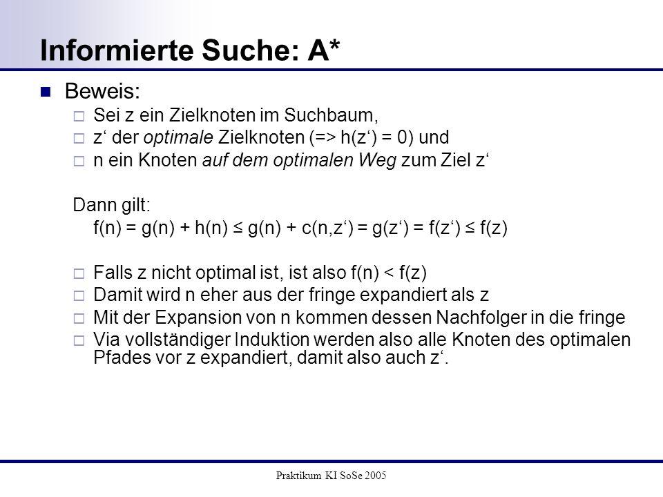 Praktikum KI SoSe 2005 Informierte Suche: A* Beweis: Sei z ein Zielknoten im Suchbaum, z der optimale Zielknoten (=> h(z) = 0) und n ein Knoten auf de