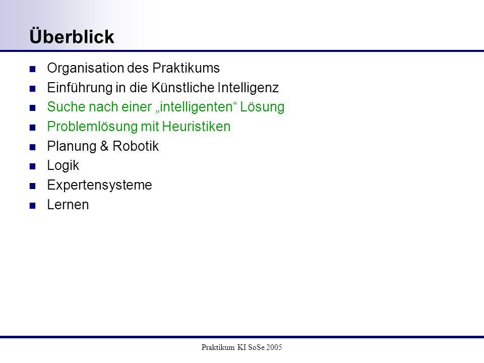 Praktikum KI SoSe 2005 Überblick Organisation des Praktikums Einführung in die Künstliche Intelligenz Suche nach einer intelligenten Lösung Problemlös