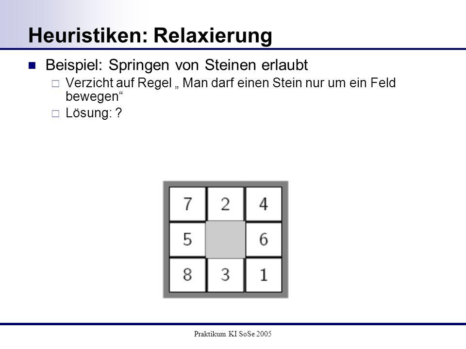 Praktikum KI SoSe 2005 Heuristiken: Relaxierung Beispiel: Springen von Steinen erlaubt Verzicht auf Regel Man darf einen Stein nur um ein Feld bewegen