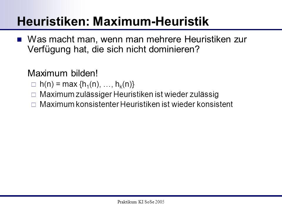 Praktikum KI SoSe 2005 Heuristiken: Maximum-Heuristik Was macht man, wenn man mehrere Heuristiken zur Verfügung hat, die sich nicht dominieren? Maximu