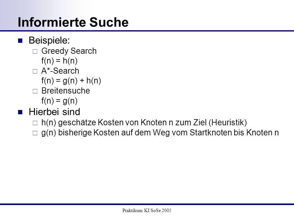 Praktikum KI SoSe 2005 Informierte Suche Beispiele: Greedy Search f(n) = h(n) A*-Search f(n) = g(n) + h(n) Breitensuche f(n) = g(n) Hierbei sind h(n)