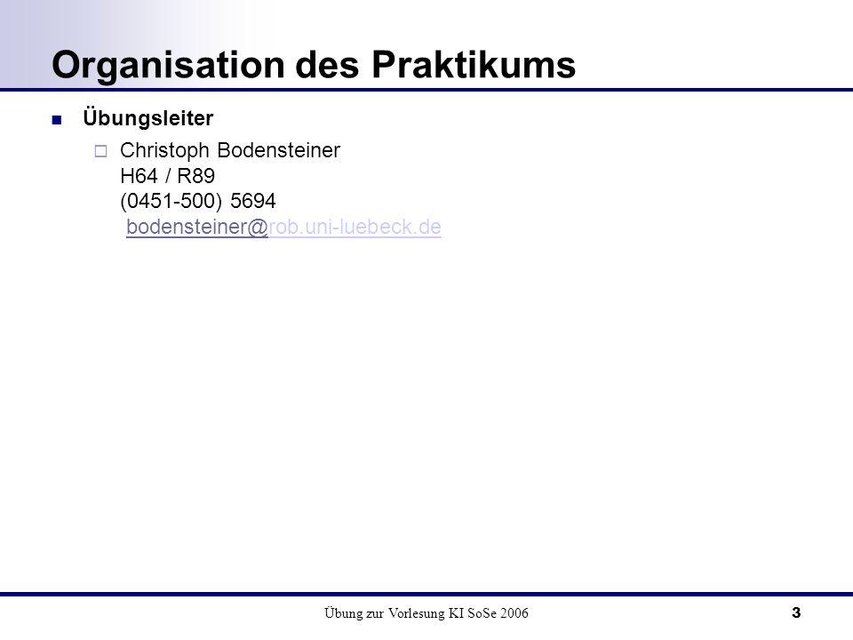 Übung zur Vorlesung KI SoSe 20063 Organisation des Praktikums Übungsleiter Christoph Bodensteiner H64 / R89 (0451-500) 5694 bodensteiner@rob.uni-luebe