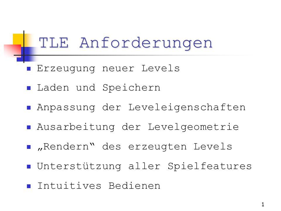 1 TLE Anforderungen Erzeugung neuer Levels Laden und Speichern Anpassung der Leveleigenschaften Ausarbeitung der Levelgeometrie Rendern des erzeugten Levels Unterstützung aller Spielfeatures Intuitives Bedienen