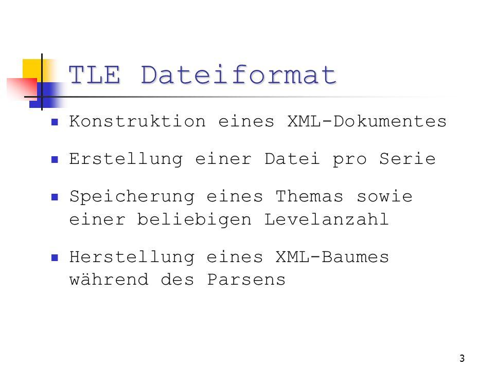 3 TLE Dateiformat Konstruktion eines XML-Dokumentes Erstellung einer Datei pro Serie Speicherung eines Themas sowie einer beliebigen Levelanzahl Herstellung eines XML-Baumes während des Parsens