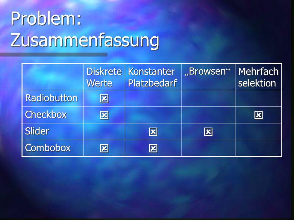 Problem: Combobox ( Kombinationsfeld ) Ausw ä hlen genau eines Wertes Diskrete Werte gut ausw ä hlbar Konstanter Platzbedarf Unkomfortable Bedienung