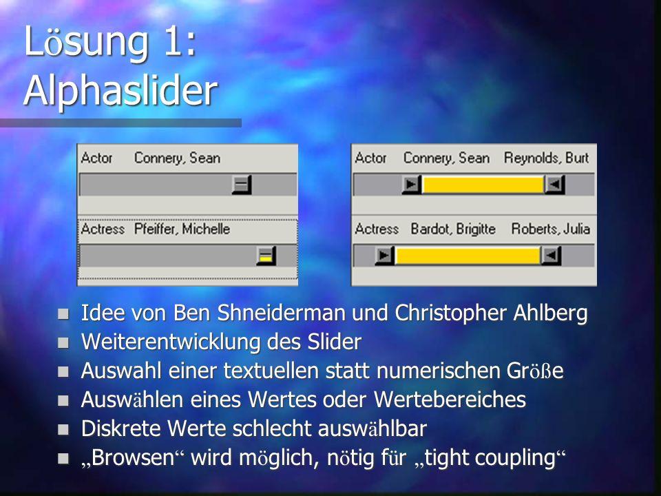 L ö sung 1: erweiterte Steuerelemente Alphaslider Alphaslider Data Visualization Slider Data Visualization Slider 2D Widget 2D Widget in keiner g ä ng