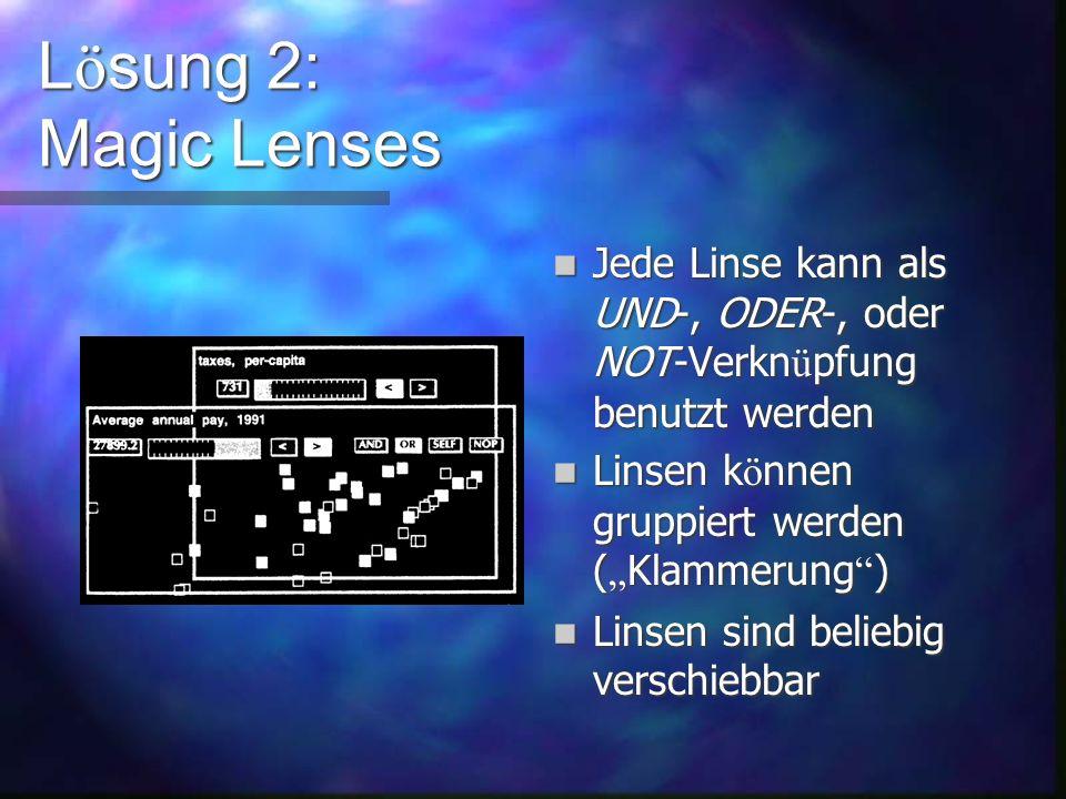 L ö sung 2: Magic Lenses Idee von Ken Fishkin Idee von Ken Fishkin Alle bisherigen L ö sungen erlaubten keine Veroderungen von booleschen Ausdr ü cken