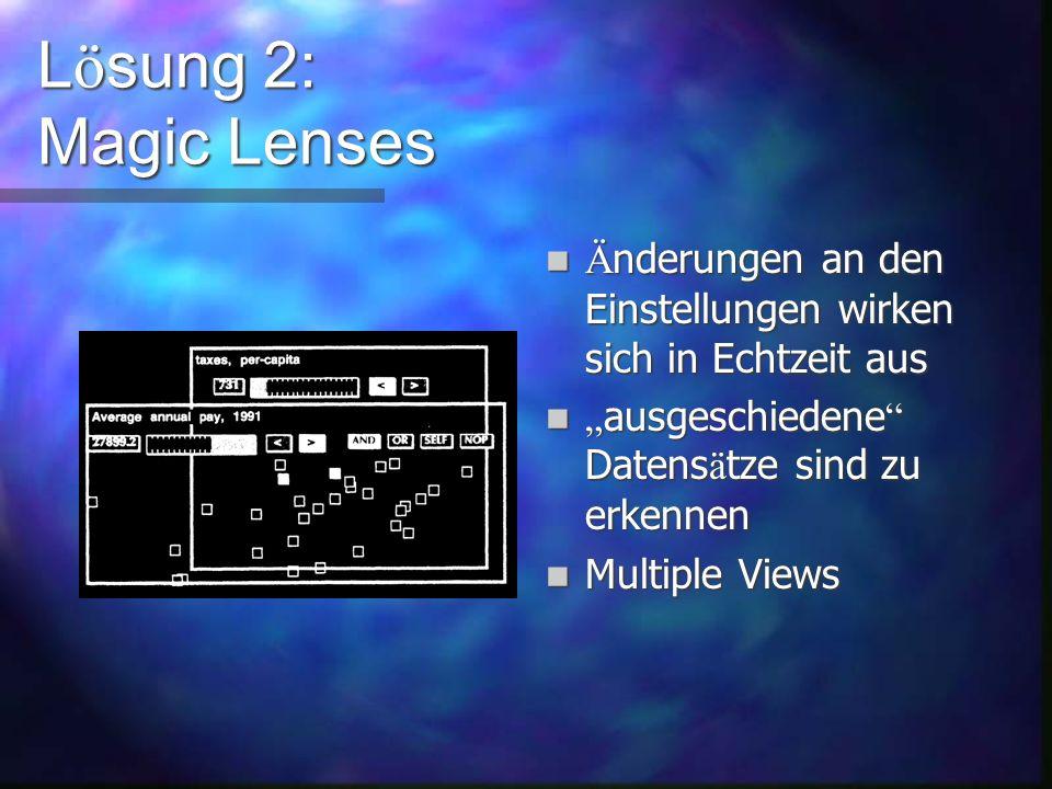 L ö sung 2: Magic Lenses Jede Linse kann als UND-, ODER-, oder NOT-Verkn ü pfung benutzt werden Linsen k ö nnen gruppiert werden ( Klammerung ) Linsen sind beliebig verschiebbar