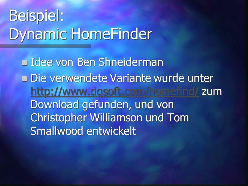 Gliederung der Pr ä sentation Beispiel: Dynamic HomeFinder Beispiel: Dynamic HomeFinder Problem: klassische Steuerelemente nicht geeignet f ü r Dynami