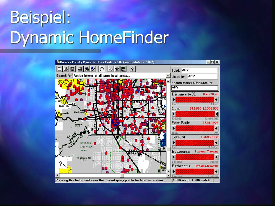 Beispiel: Dynamic HomeFinder Idee von Ben Shneiderman Idee von Ben Shneiderman Die verwendete Variante wurde unter http://www.dqsoft.com/homefind/ zum Download gefunden, und von Christopher Williamson und Tom Smallwood entwickelt Die verwendete Variante wurde unter http://www.dqsoft.com/homefind/ zum Download gefunden, und von Christopher Williamson und Tom Smallwood entwickelt http://www.dqsoft.com/homefind/