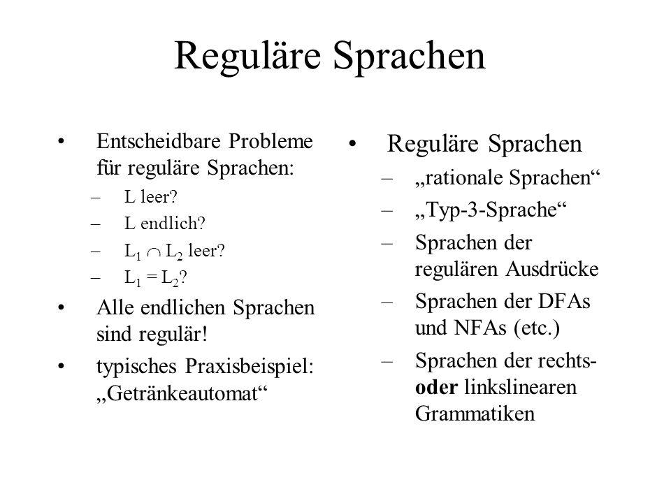 Reguläre Sprachen Entscheidbare Probleme für reguläre Sprachen: –L leer? –L endlich? –L 1 L 2 leer? –L 1 = L 2 ? Alle endlichen Sprachen sind regulär!