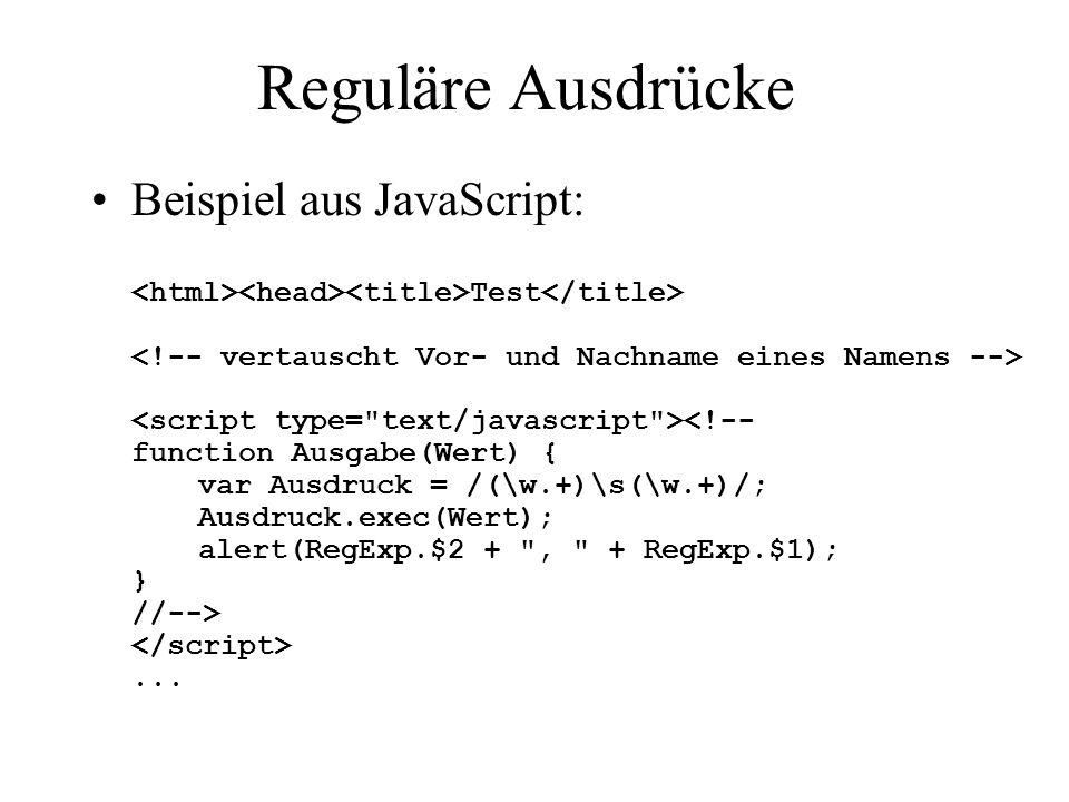 Reguläre Ausdrücke >= JDK 1.4: –Package java.util.regex < JDK 1.4: –z.B: http://jakarta.apache.org/regexp/index.htmlhttp://jakarta.apache.org/regexp/index.html Beispiel: public static void main(String[] args) { String input = Test für Regex 1xxx2 n444n. ; Pattern p = Pattern.compile( \\d\\D+\\d ); Matcher m = p.matcher(input); if (m.find()) { System.out.println( Pos.