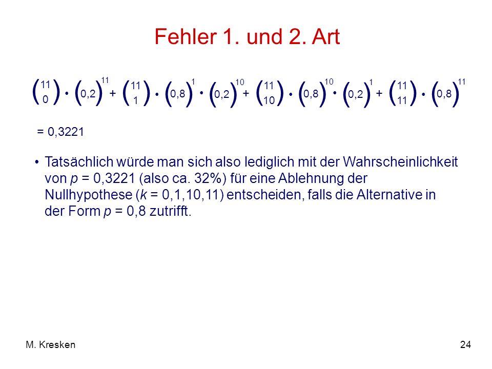 24M. Kresken Fehler 1. und 2. Art = 0,3221 Tatsächlich würde man sich also lediglich mit der Wahrscheinlichkeit von p = 0,3221 (also ca. 32%) für eine