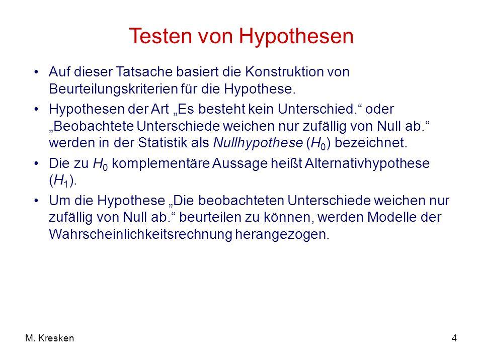 4M. Kresken Testen von Hypothesen Auf dieser Tatsache basiert die Konstruktion von Beurteilungskriterien für die Hypothese. Hypothesen der Art Es best