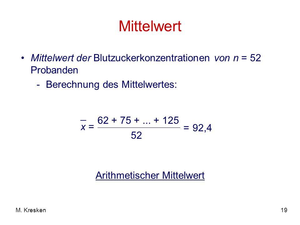 19M. Kresken Mittelwert Mittelwert der Blutzuckerkonzentrationen von n = 52 Probanden -Berechnung des Mittelwertes: x = _ 62 + 75 +... + 125 52 =92,4