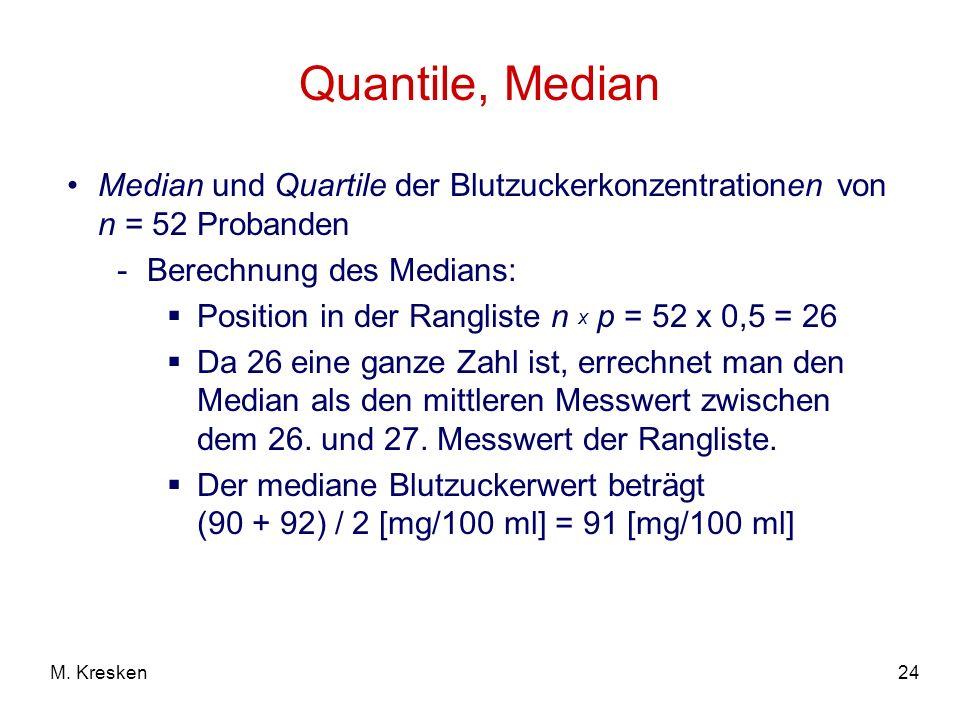 24M. Kresken Quantile, Median Median und Quartile der Blutzuckerkonzentrationen von n = 52 Probanden -Berechnung des Medians: Position in der Ranglist