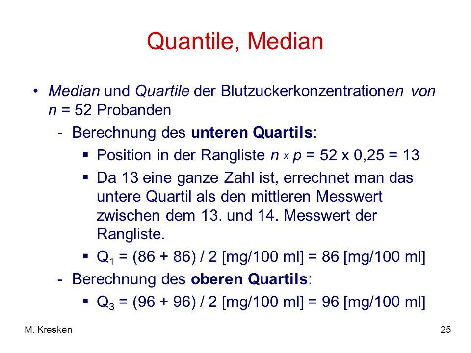 25M. Kresken Quantile, Median Median und Quartile der Blutzuckerkonzentrationen von n = 52 Probanden -Berechnung des unteren Quartils: Position in der