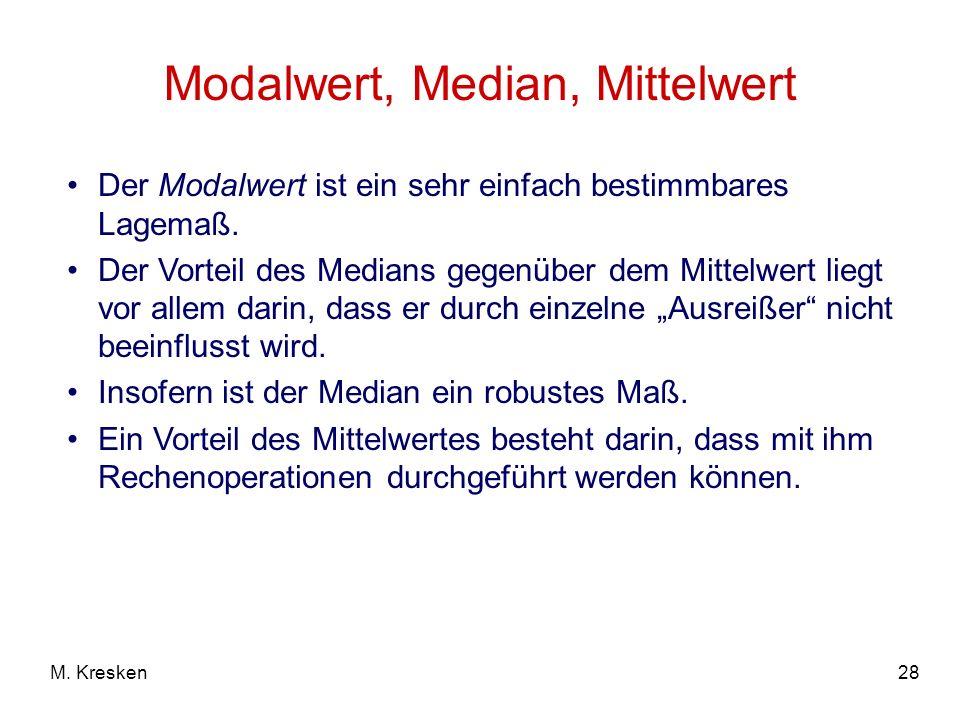 28M. Kresken Modalwert, Median, Mittelwert Der Modalwert ist ein sehr einfach bestimmbares Lagemaß. Der Vorteil des Medians gegenüber dem Mittelwert l