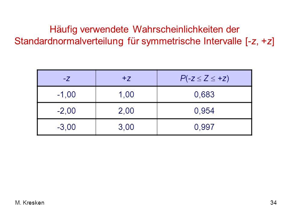 34M. Kresken Häufig verwendete Wahrscheinlichkeiten der Standardnormalverteilung für symmetrische Intervalle [-z, +z] -z-z+z+z P(-z Z +z) -1,001,000,6