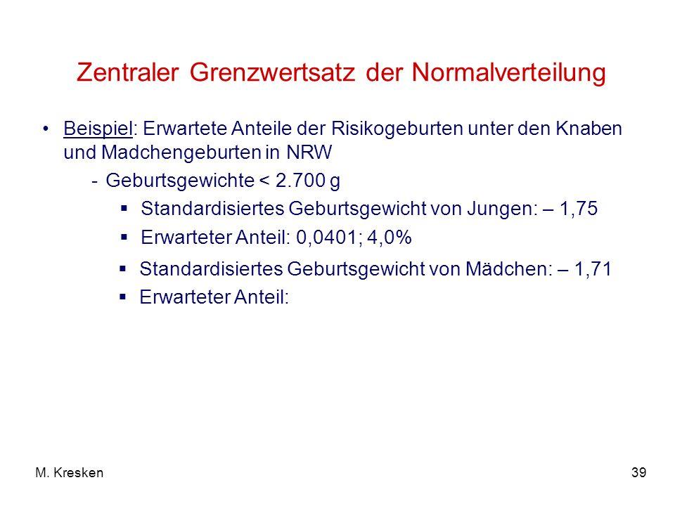 39M. Kresken Zentraler Grenzwertsatz der Normalverteilung Beispiel: Erwartete Anteile der Risikogeburten unter den Knaben und Madchengeburten in NRW -