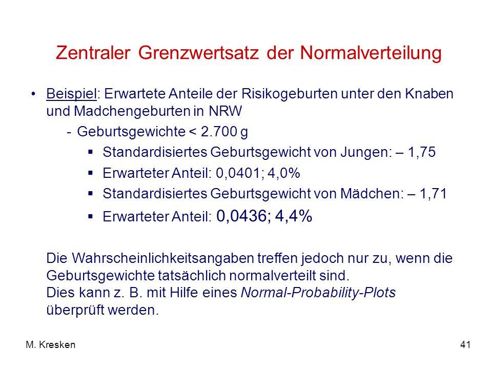 41M. Kresken Zentraler Grenzwertsatz der Normalverteilung Beispiel: Erwartete Anteile der Risikogeburten unter den Knaben und Madchengeburten in NRW -