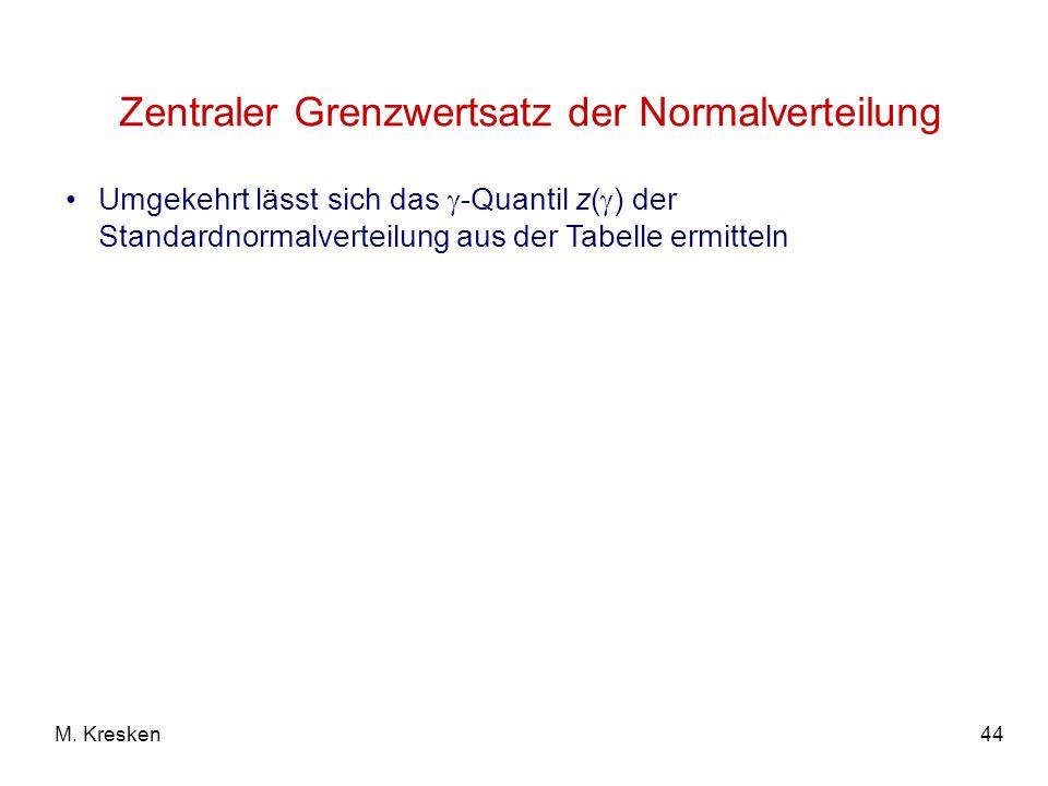 44M. Kresken Zentraler Grenzwertsatz der Normalverteilung Umgekehrt lässt sich das -Quantil z( ) der Standardnormalverteilung aus der Tabelle ermittel
