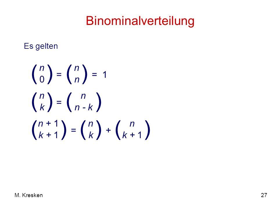 27M. Kresken Binominalverteilung Es gelten = ( n 0 ) ( n k ) ( n n ) = 1 = ( n n - k ) ( n + 1 k + 1 ) = ( n k ) + ( n )
