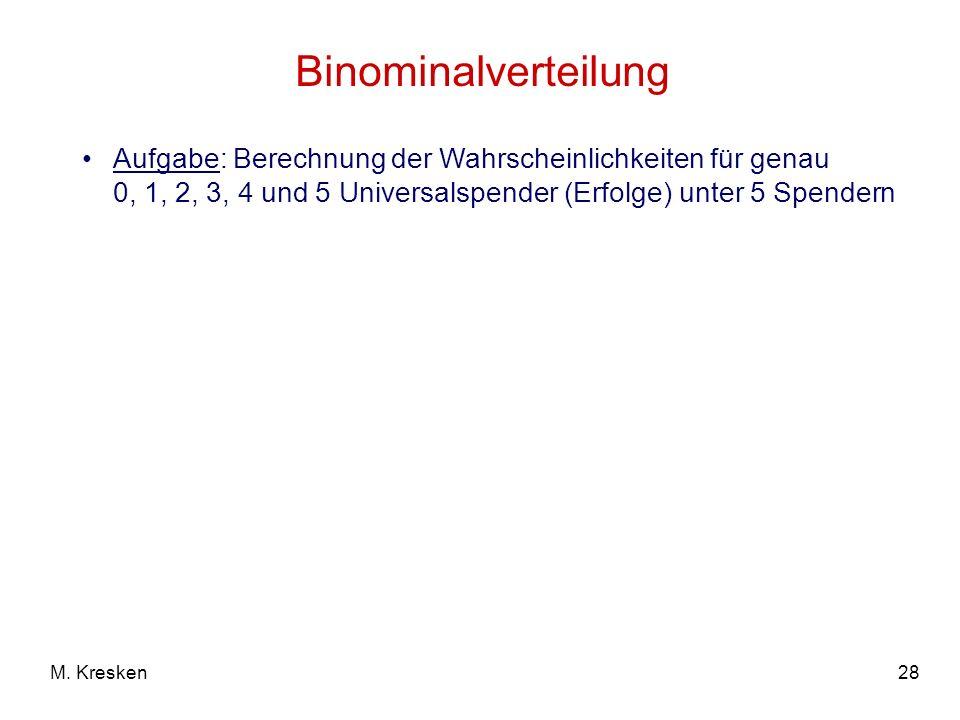 28M. Kresken Binominalverteilung Aufgabe: Berechnung der Wahrscheinlichkeiten für genau 0, 1, 2, 3, 4 und 5 Universalspender (Erfolge) unter 5 Spender