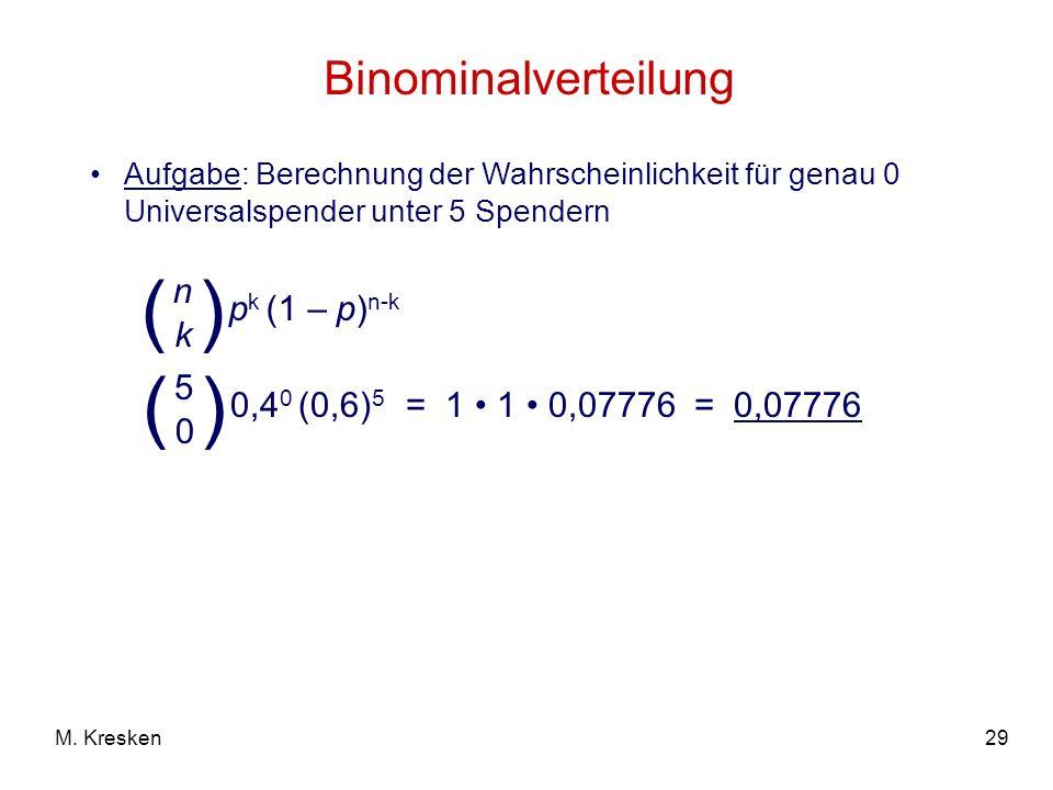 29M. Kresken Binominalverteilung Aufgabe: Berechnung der Wahrscheinlichkeit für genau 0 Universalspender unter 5 Spendern = 1 1 0,07776 = 0,07776 p k