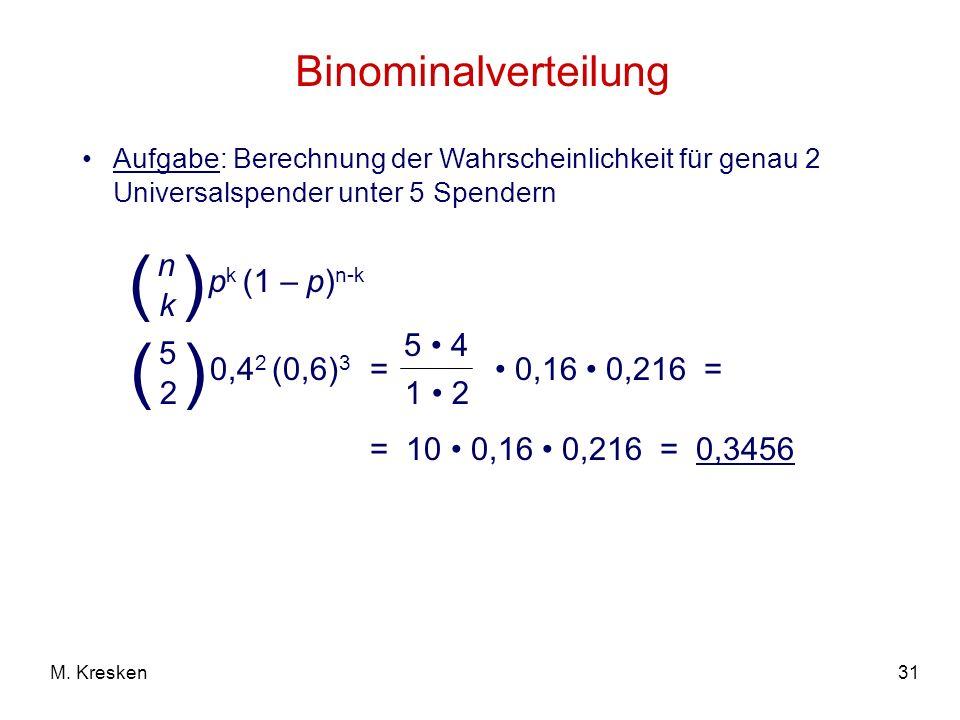 31M. Kresken Binominalverteilung Aufgabe: Berechnung der Wahrscheinlichkeit für genau 2 Universalspender unter 5 Spendern = 0,16 0,216 = p k (1 – p) n