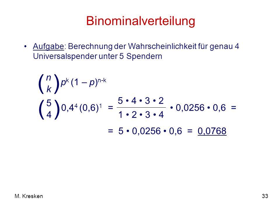 33M. Kresken Binominalverteilung Aufgabe: Berechnung der Wahrscheinlichkeit für genau 4 Universalspender unter 5 Spendern = 0,0256 0,6 = p k (1 – p) n