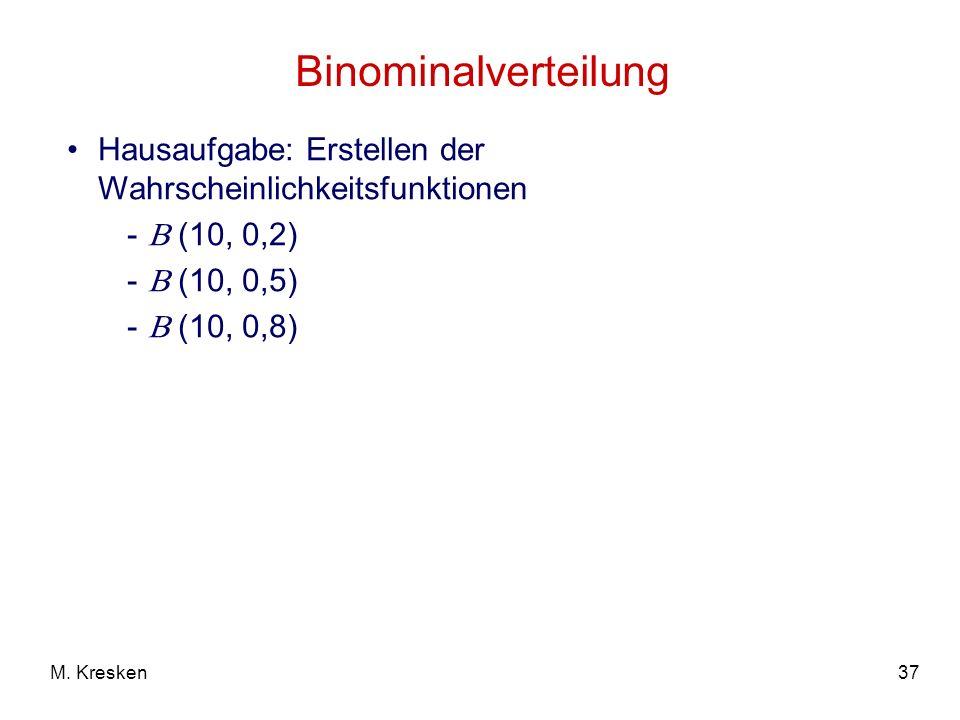 37M. Kresken Binominalverteilung Hausaufgabe: Erstellen der Wahrscheinlichkeitsfunktionen - (10, 0,2) - (10, 0,5) - (10, 0,8)